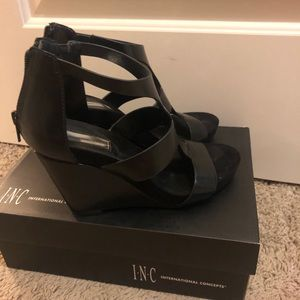 INC Black Wedge Dress Sandals